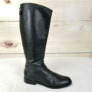 Jack Rogers Side Zip Black Leather Riding Boots 9M
